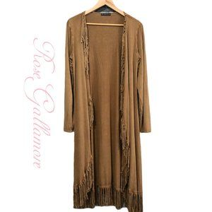T Party Brown Fringed Long Cardigan